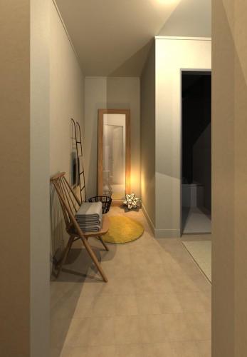 イメージパースP1-6洗面入口から洗濯機置場方向